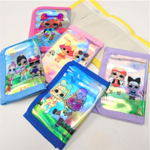 Metallic Kids Print Tri Fold Wallets Asst Colors .60 each