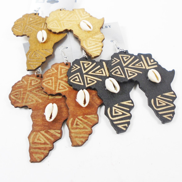 "2.75"" Wood Earrings Africa Map w/ Cowrie Shell   3 colors .56 per pair"
