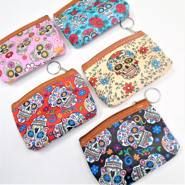 "5"" Asst Color Sugar Skull Zipper Coin Purse w/ Key Chain .58 ea"
