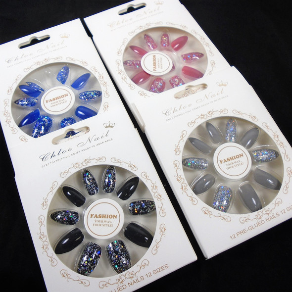 NEW Sparkle  Glitter   12 Pk Pre Glued Fashion Nails (60) .56 each set