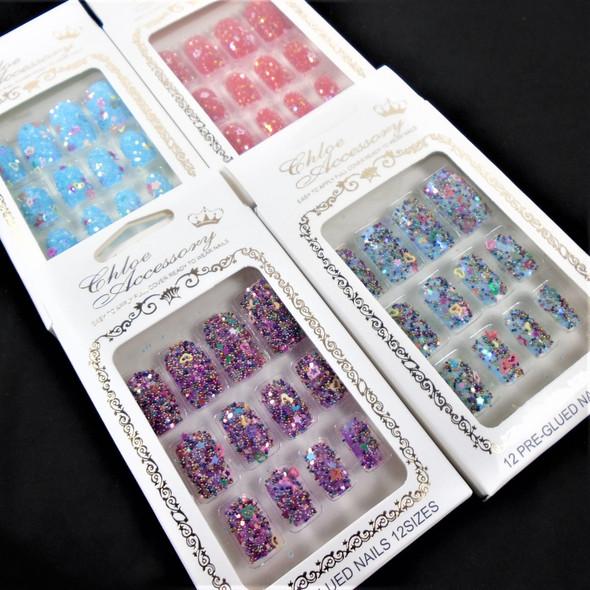 NEW Sparkle  Glitter   12 Pk Pre Glued Fashion Nails (61) .54 each set