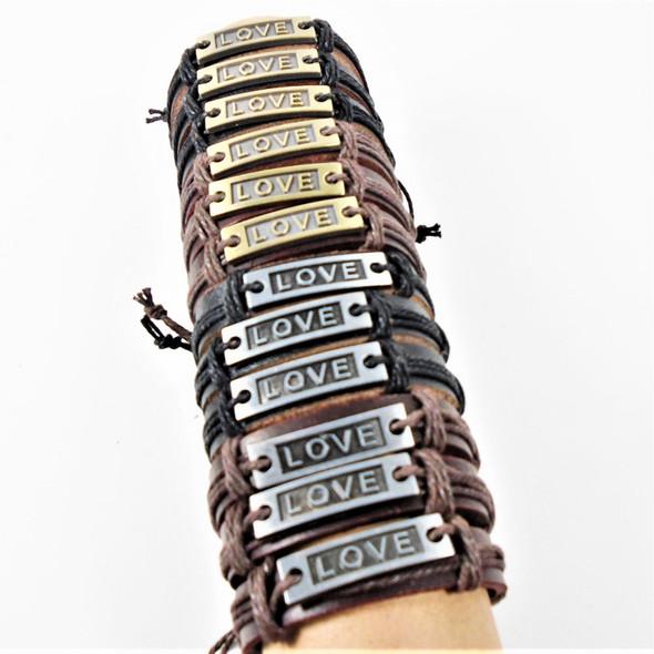 Teen Leather Bracelet w/ Gold/Silver LOVE Plaque .54 ea