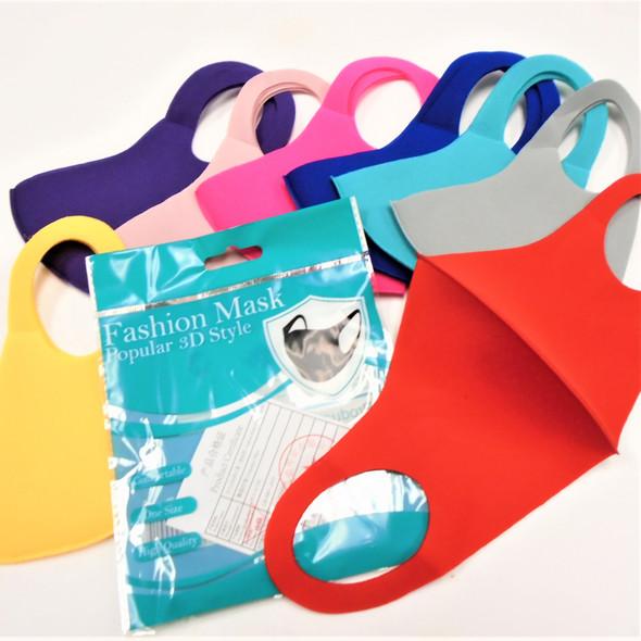 2 Layer 8- Asst Color Face Masks Washable & Reusable 12 per pk  .65 ea