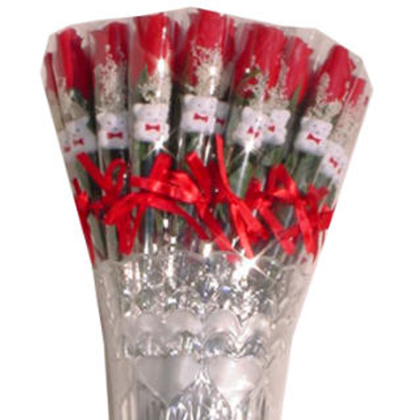 """14"""" ALL Red Rose w/Bear 36 pc (BOX DISPLAY) .43 each"""