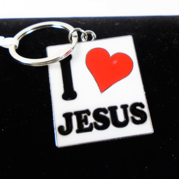 """Great Quality 2"""" I Love Jesus Cast Keychains White Background  12 per pk .56 each"""