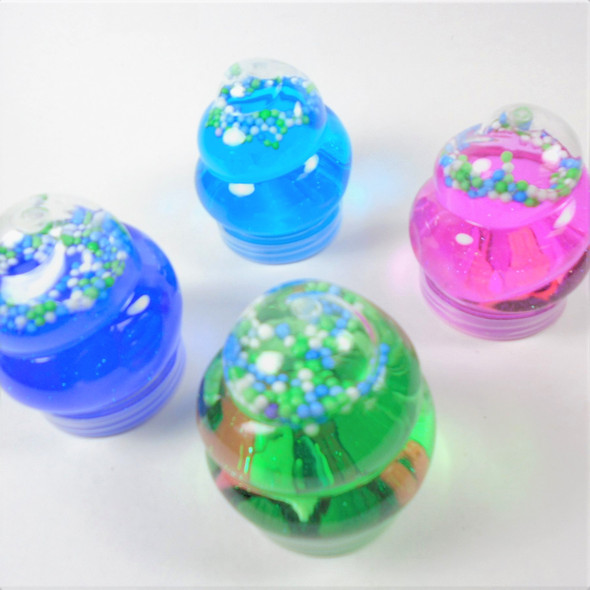 "3"" Size Swirl Bottle Bright  Color Fun Putty w/ Beads  12 per display bx .60 each"