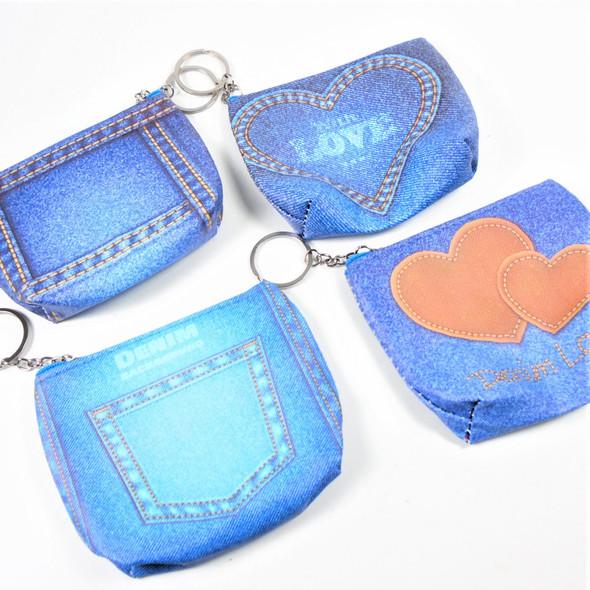 """4.5"""" Faux Denim Look Zip Coin Bag w/ Key Chain  .58 ea"""
