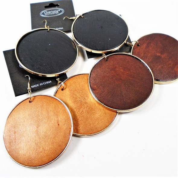 "2.5"" Wood Round Fashion Earrings w/ Gold Trim  .56 per pair"