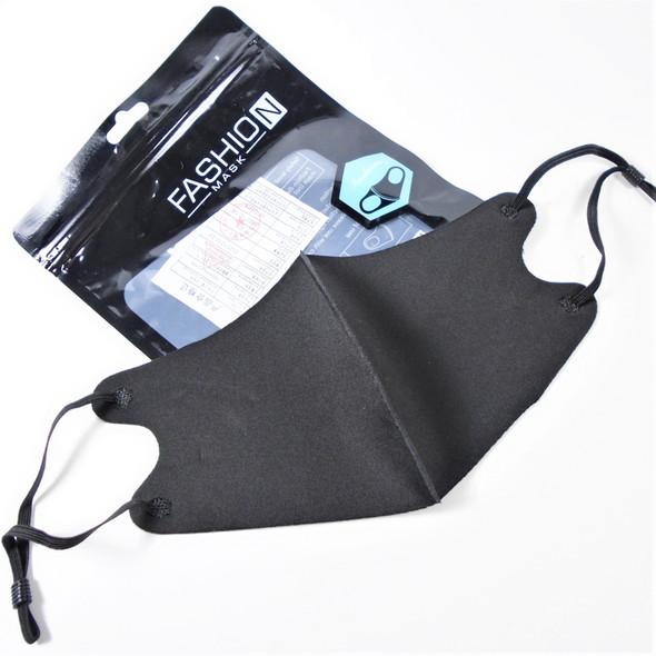 Adjustable Fashion Face Masks Washable & Reusable ALL BLACK (017)  .65 each
