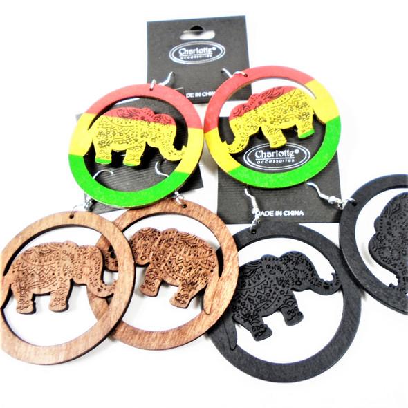 "2.25"" Wood Open Design Fashion Earrings Elephant Theme  3 colors   .54 per pair"