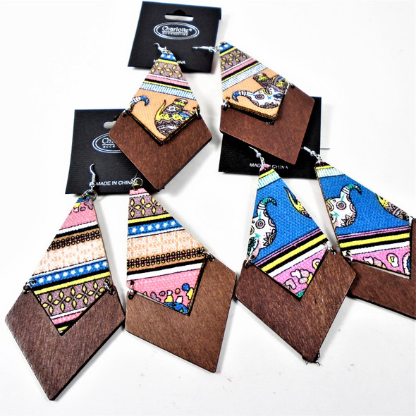 "3.5"" 2 Sided Print Design Fashion Wood  Earrings   .54 per pair"