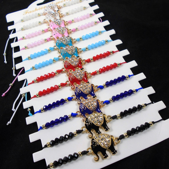 Colorful Cord Bracelet w/ Cast Cry. Stone Elephant & Colored Bead 12 per cd .54 each
