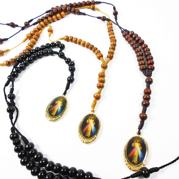 "36"" Wood Bead Rosary w/ Divine Mercy Charm  .60 each"