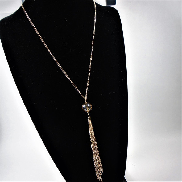 "36"" Gold Chain Necklace w/ Tassel & Dia. Cut Crystal Look Bead   .60 each"