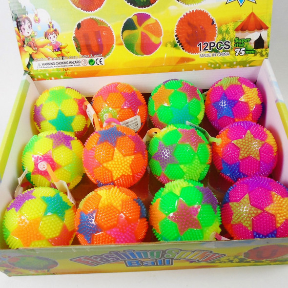 "3"" Spikey Flashing Squeakie  Ball w/  YoYo's STAR Theme  12 per bx .58 each"