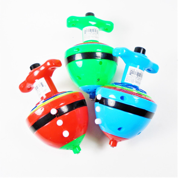 """3.5"""" Space Ship Look Flashing Spinning Top w/ Sound 12 per bx $ 1.25 ea"""