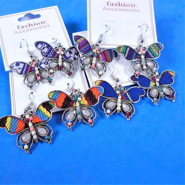 "SO CUTE 1.25"" Textured w/ Mini Beads Butterfly Earring  .56 per pair"