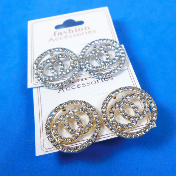 Gold & Silver Crystal Stone Fashion Earring Circle Theme  .58 per pair
