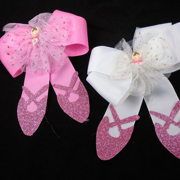 "6"" X 6"" Ballerina Fashion Gator Clip Bows  3 colors .70 each"