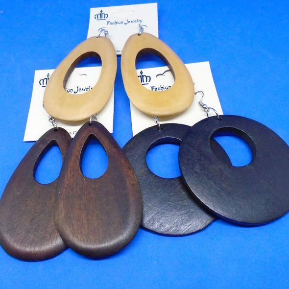 """2.5"""" Asst Woodtone Color & Black  Oval Fashion Earrings  (97A) .54 ea"""