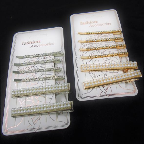 6 Pack Rhinestone Bobbie Pins & Pearl Hair Clip Set  .56 per set