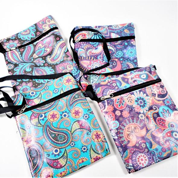 """5"""" X 6.5"""" Paisley Pattern Zipper Bag w/ Lg. Strap  .58 each"""