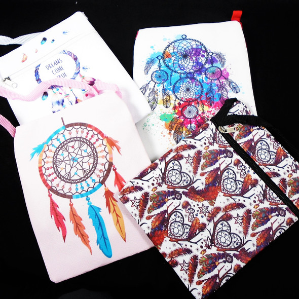 "5"" X 6.5"" Colorful Print Dream Catcher Theme Zipper Bag w/ Strap   .58 each"