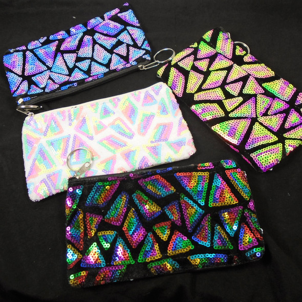 """3"""" X 6"""" Colorful New Sequin Pattern Zipper Coin Bag w/ Keychain .58 each"""