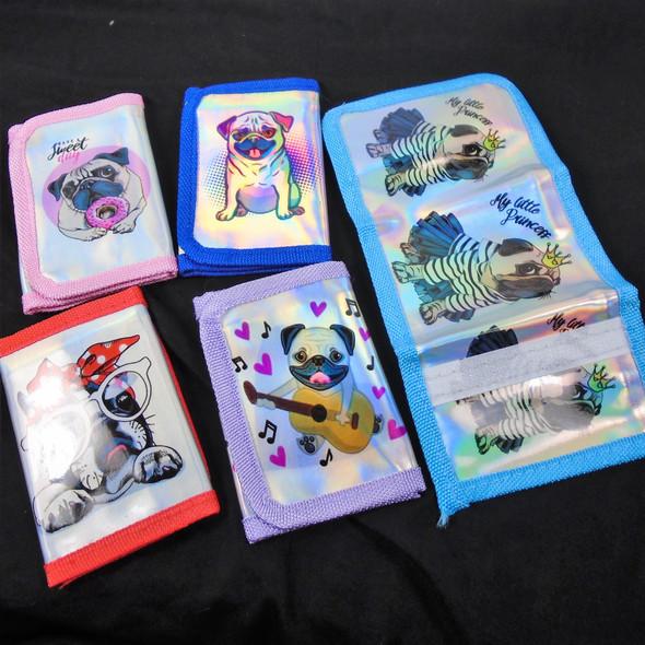 Trendy Cute Pug Dog Theme Hologram Look Tri Fold Wallets  .58 ea