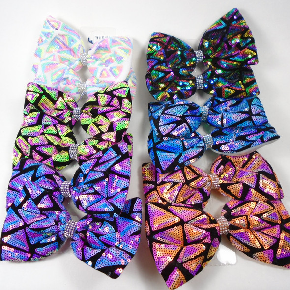 New Sequin Pattern Gator Clip Bows  Mixed As Shown .56 each
