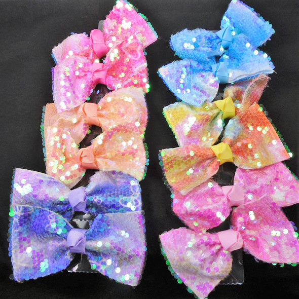"5"" Super Shiney Sequin Gator Clip Easter Bows   .56 each"