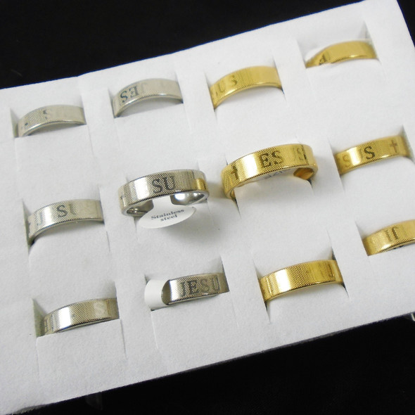 Gold & Silver JESUS Stainless Steel Band Rings w/ Cross 12 per bx .58 ea