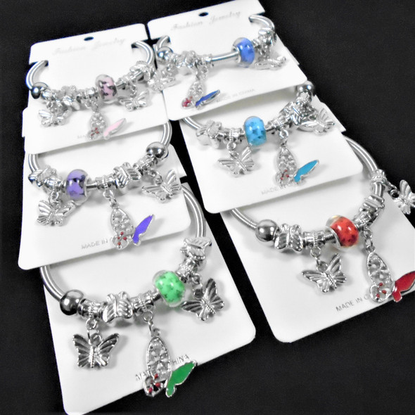 Silver Spring Style Beaded Bracelet w/ Mixed Butterfly  Charm .58  ea