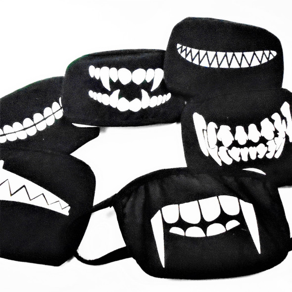 Black Soft Fabric  DBL Sided Reusable Protective Face Mask Novelty Print  12 per pk $ .65  ea