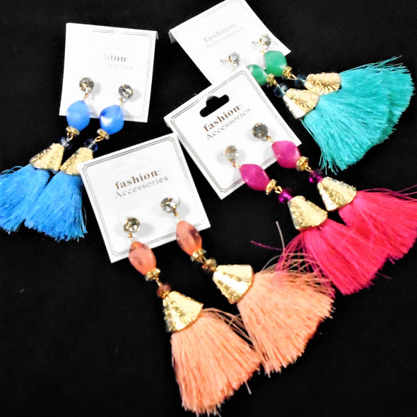 """3.5"""" Fashion Fringe Style Earrings w/ MBL Bead & Cry. Stone Top   .56 per pair"""