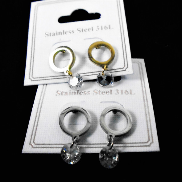 Petite Gold & Silver Stainless Earring w/ Dangle Crystal Stone .56 per pair