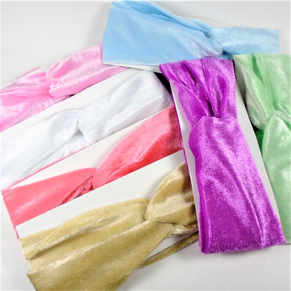 "Trendy 3"" Velveteen  Stretch Headbands (804) mixed lite color   12 per pk .58 each"