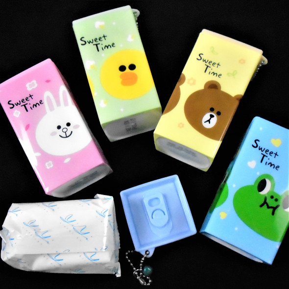 """Square Plastic Can 3.5"""" Sweet Time Animal Theme Keychain  w/ Wet Wipes .65 each"""