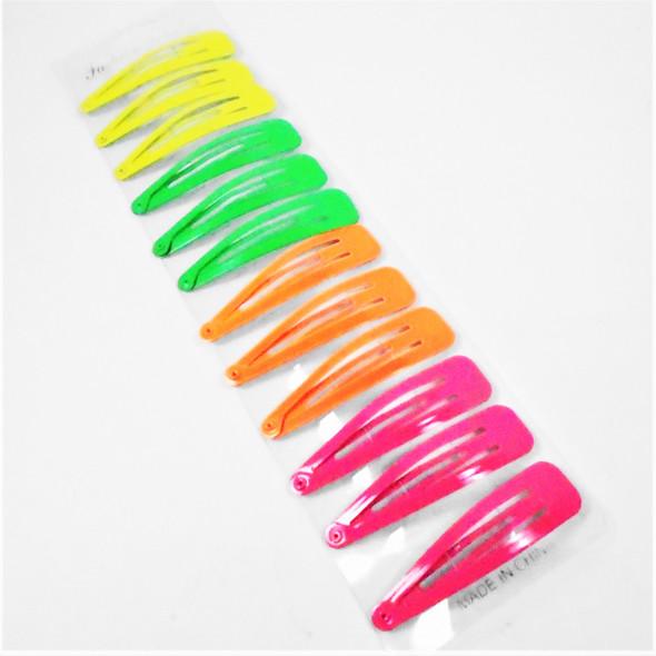 """2.5"""" 12 pk  Neon Color Mix Metal Snap Pin Clip  .54 per set"""