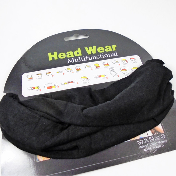 Carded Multifunctional Scarf/Headwear/ Mask  All Black  .58 each
