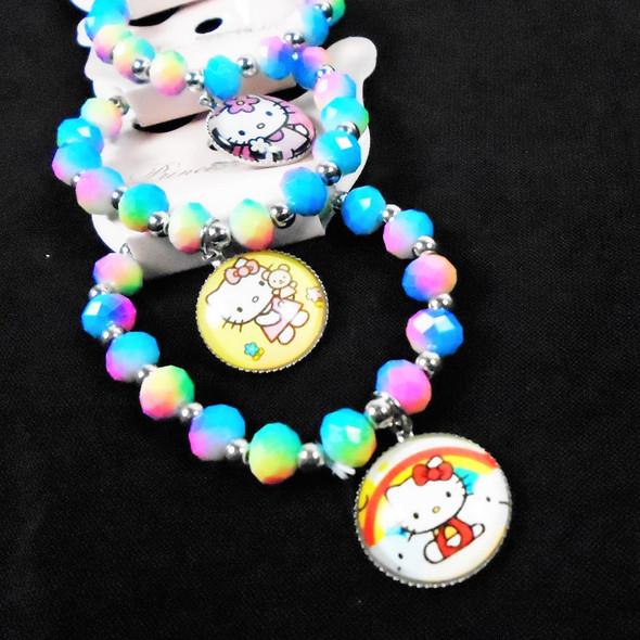 Mixed Kid's Multi Color Bead Stretch Bracelet Cat Theme  .60 each