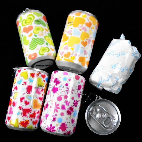 "3.25"" Tall Soda Can Multi Color Heart Theme Keychain  w/ Wet Wipe .65 ea"