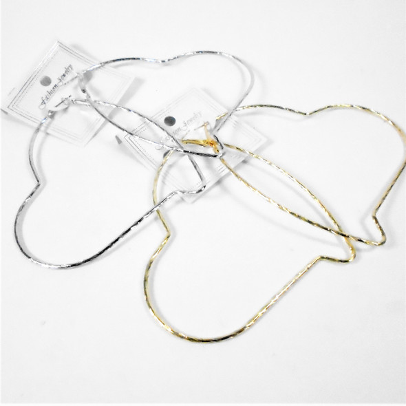 "3.5"" Gold & Silver Hoop. Earrings Textured Heart Shaped   .56 per pair"