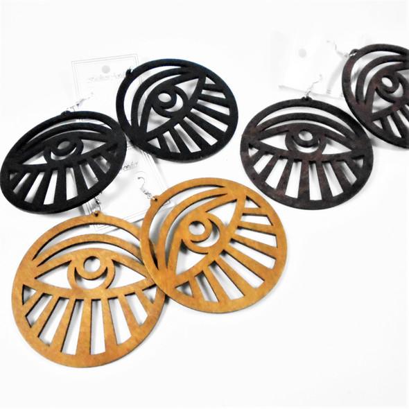 "3"" Lightweight Wood Fashion Earrings  (2761)  .54 per pair"