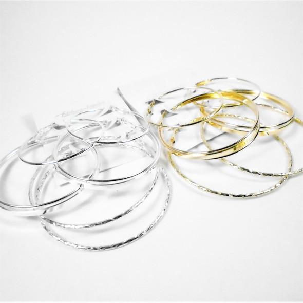 3 Pair Gold & Silver Hoop Earrings  (2558)   .54 per set