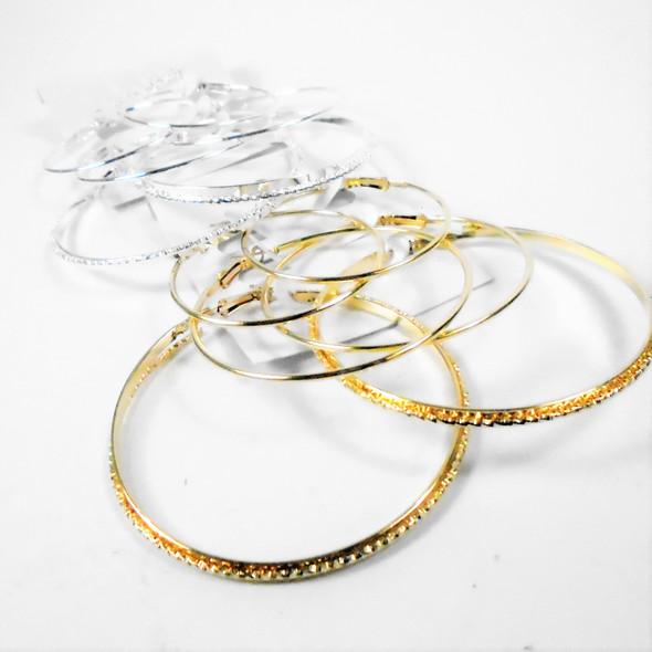 3 Pair Gold & Silver Hoop Earrings  (2554)   .54 per set