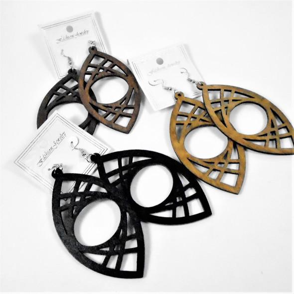 "3"" Lightweight Wood Fashion Earrings  (2589)  .54 per pair"