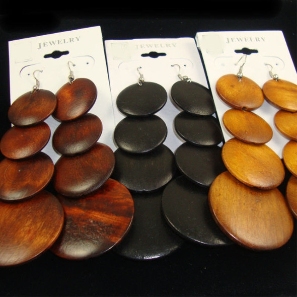 "4"" Wood Disc Fashion Earring Natural  Woodtone Colors  .54 each"