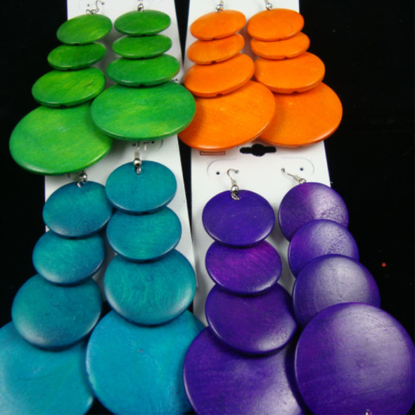 "3.5"" 4 Part Wood Fashion Disc Earring 6-Asst Bright Colors .54 each"
