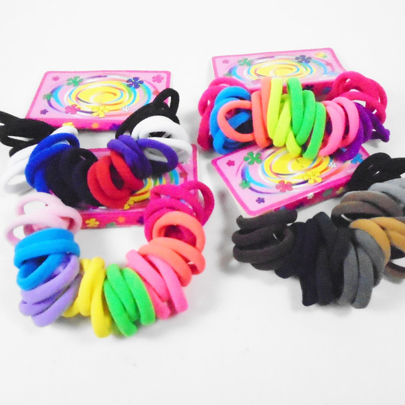 25 Pack Soft & Stretchy Mixed Color Ponytail Holders .54 per set